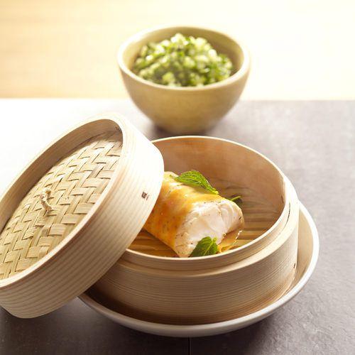 gestoomde kabeljauw met muntsalsa recept okoko recepten. Black Bedroom Furniture Sets. Home Design Ideas