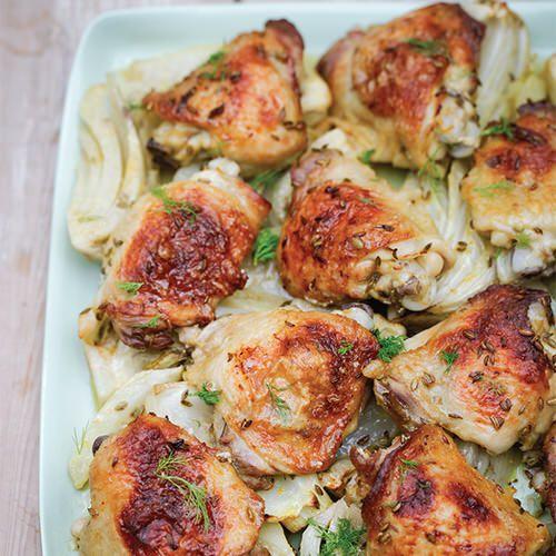 nigella lawson: kip uit de oven met sinaasappel en venkel - recept